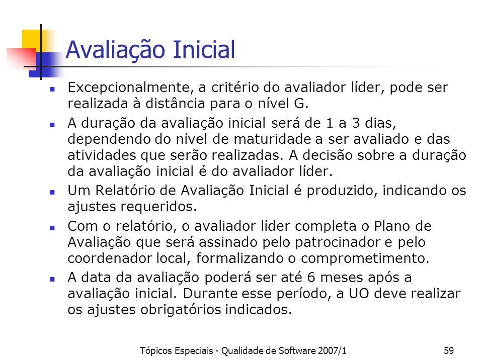 Tópicos Especiais - Qualidade de Software 2007/158 Exclusão de Processos e Resultados É permitido a uma unidade organizacional excluir processos do es