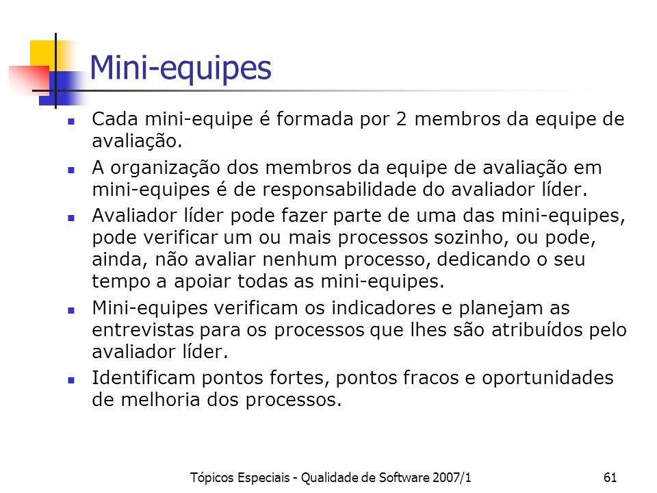 Tópicos Especiais - Qualidade de Software 2007/160 Subprocesso: Realizar a Avaliação Conduzir a avaliação Realizar reunião inicial Completar assinatur