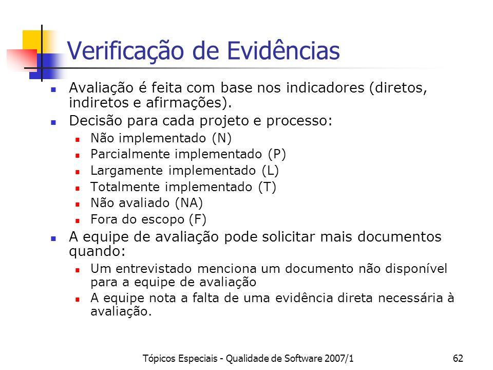 Tópicos Especiais - Qualidade de Software 2007/161 Mini-equipes Cada mini-equipe é formada por 2 membros da equipe de avaliação. A organização dos mem