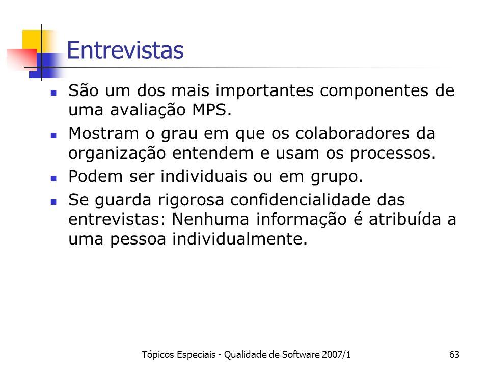 Tópicos Especiais - Qualidade de Software 2007/162 Verificação de Evidências Avaliação é feita com base nos indicadores (diretos, indiretos e afirmaçõ