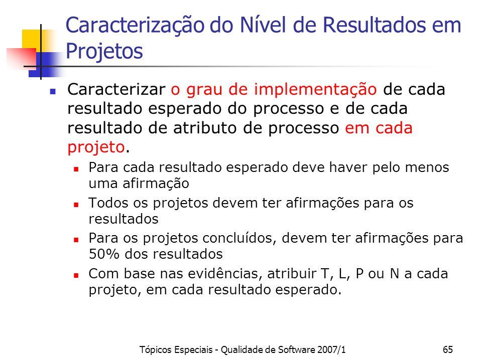 Tópicos Especiais - Qualidade de Software 2007/164 Passos para a Caracterização do Nível MPS.BR de uma UO Caracterizar o grau de implementação de cada
