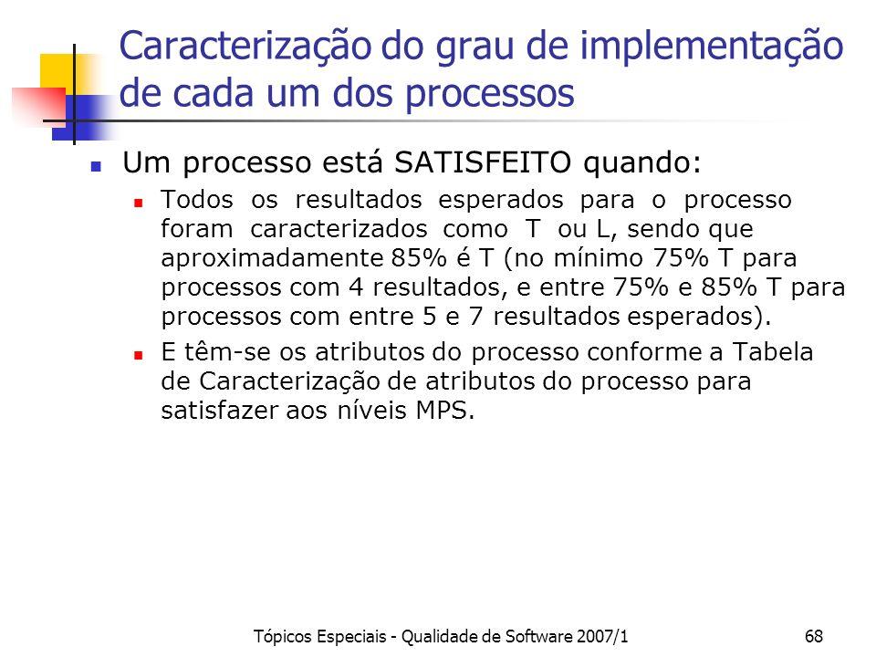Tópicos Especiais - Qualidade de Software 2007/167 Caracterização do Nível de Resultados para Organização: Regras para Agregação
