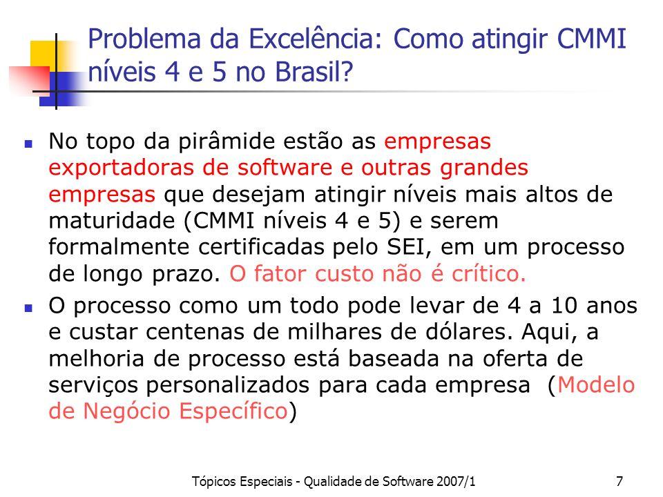 Tópicos Especiais - Qualidade de Software 2007/16 CMM Nível 2: 33 Nível 3: 10 Nível 4: 0 Nível 5: 1 CMMI Nível 2: 3 Nível 3: 1 Nível 4: 0 Nível 5: 2 M