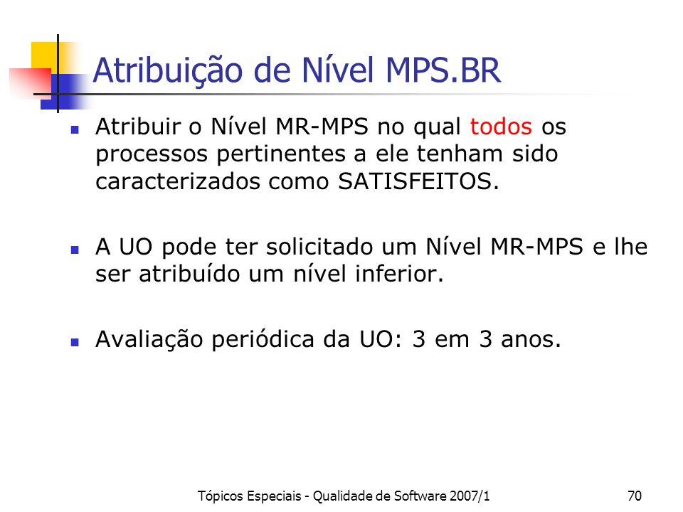 Tópicos Especiais - Qualidade de Software 2007/169 Tabela de caracterização de atributos do processo para satisfazer aos níveis MPS