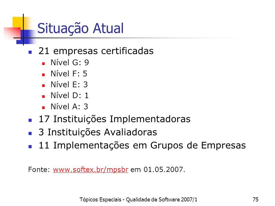 Tópicos Especiais - Qualidade de Software 2007/174 Custos MPS.BR Modelo Cooperado (Implementação+ Avaliação): 50% SOFTEX, 50% Empresa (aproximadamente