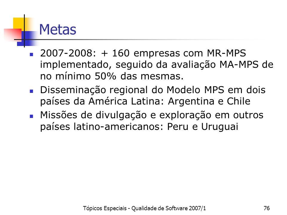 Tópicos Especiais - Qualidade de Software 2007/175 Situação Atual 21 empresas certificadas Nível G: 9 Nível F: 5 Nível E: 3 Nível D: 1 Nível A: 3 17 I