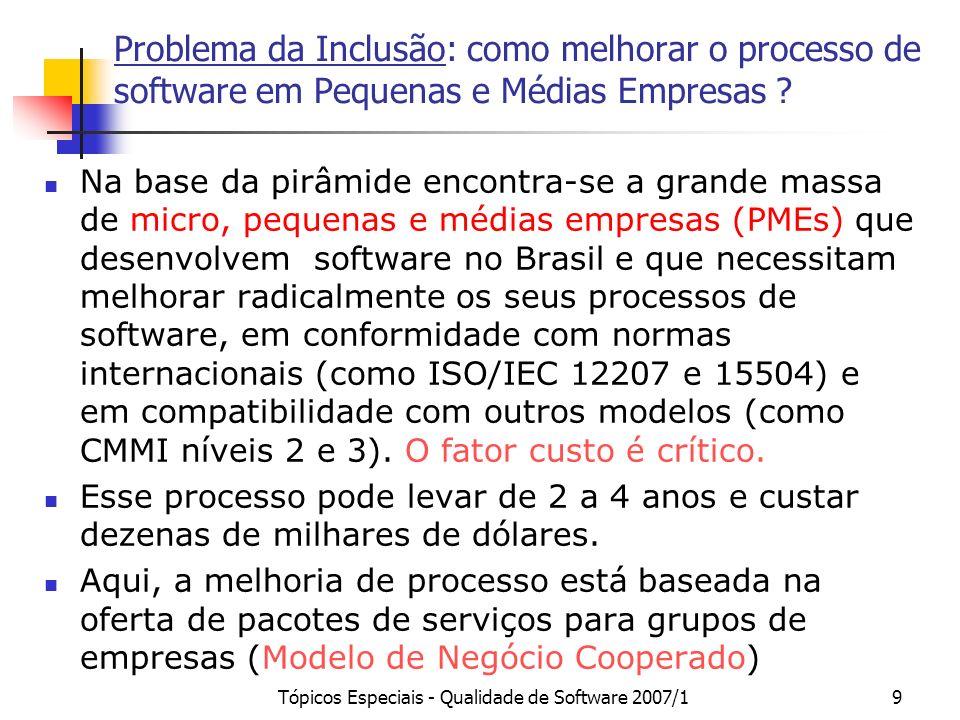 Tópicos Especiais - Qualidade de Software 2007/18 Problema da Excelência: Como atingir níveis de maturidade CMMI no Brasil? Empresas exportadoras e gr