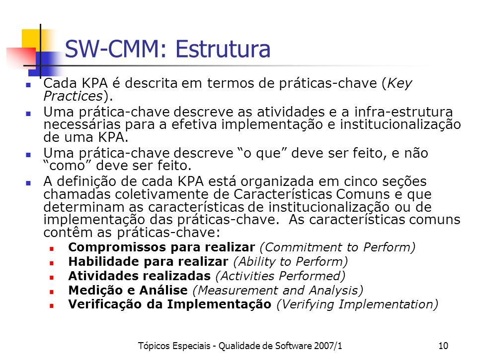 Tópicos Especiais - Qualidade de Software 2007/110 SW-CMM: Estrutura Cada KPA é descrita em termos de práticas-chave (Key Practices). Uma prática-chav