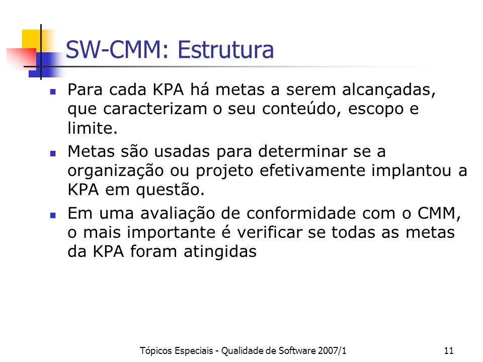 Tópicos Especiais - Qualidade de Software 2007/111 SW-CMM: Estrutura Para cada KPA há metas a serem alcançadas, que caracterizam o seu conteúdo, escop