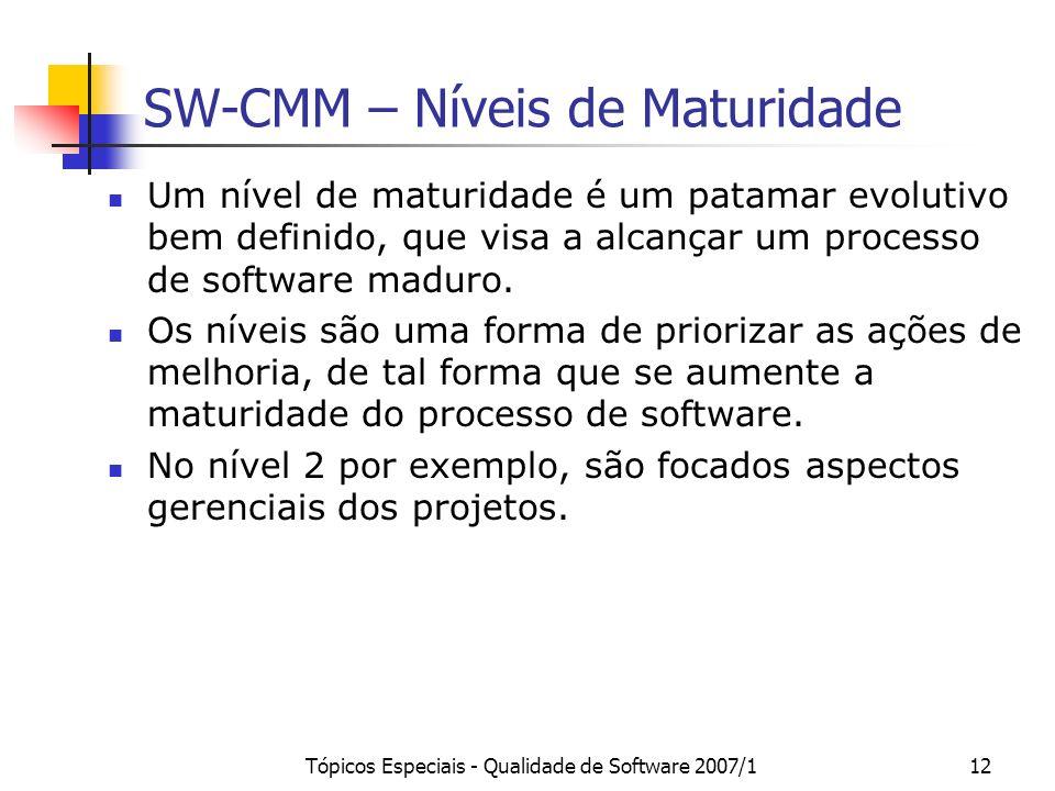 Tópicos Especiais - Qualidade de Software 2007/112 SW-CMM – Níveis de Maturidade Um nível de maturidade é um patamar evolutivo bem definido, que visa