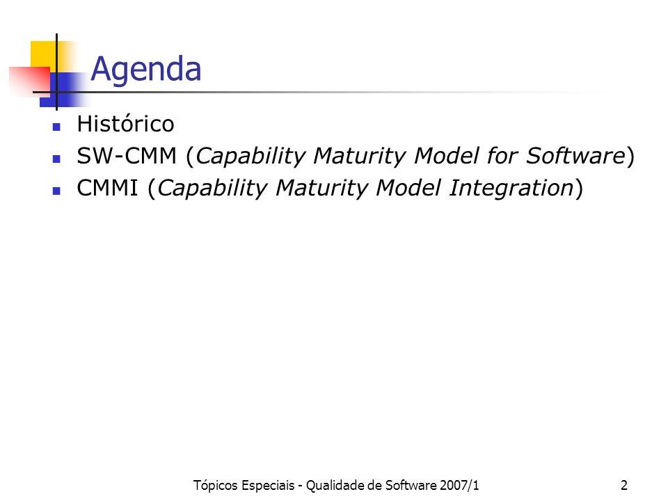 Tópicos Especiais - Qualidade de Software 2007/123 SW-CMM: Nível 4 A organização estabelece metas quantitativas de qualidade e produtividade para as atividades do processo e para os produtos produzidos são estabelecidas para cada projeto.