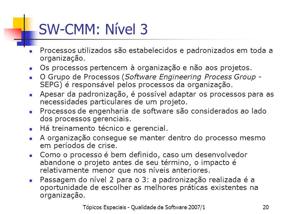 Tópicos Especiais - Qualidade de Software 2007/120 SW-CMM: Nível 3 Processos utilizados são estabelecidos e padronizados em toda a organização. Os pro