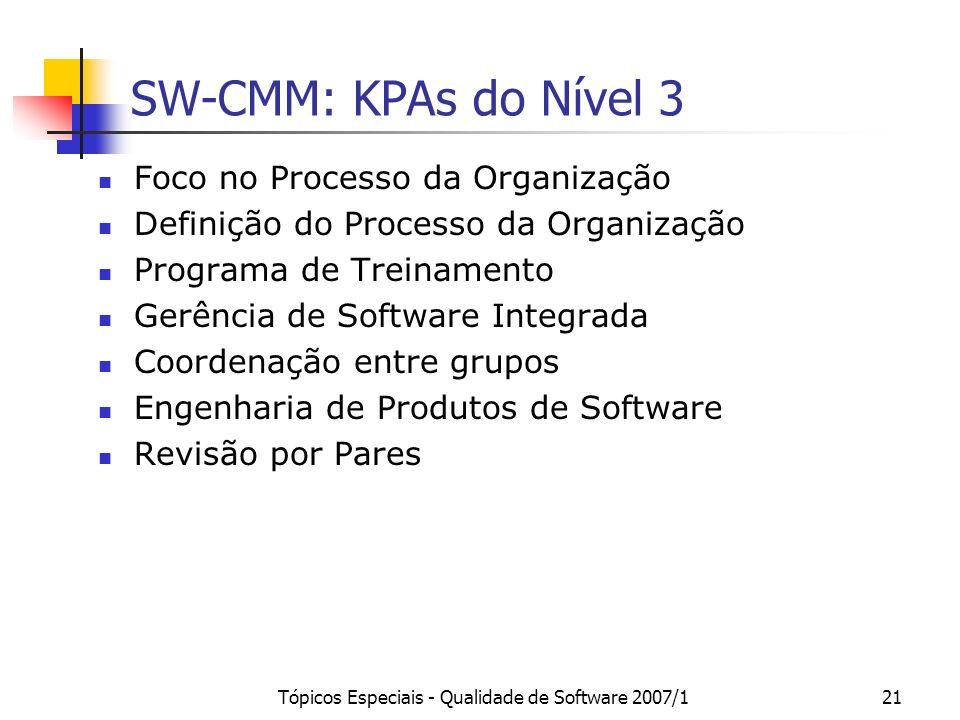 Tópicos Especiais - Qualidade de Software 2007/121 SW-CMM: KPAs do Nível 3 Foco no Processo da Organização Definição do Processo da Organização Progra