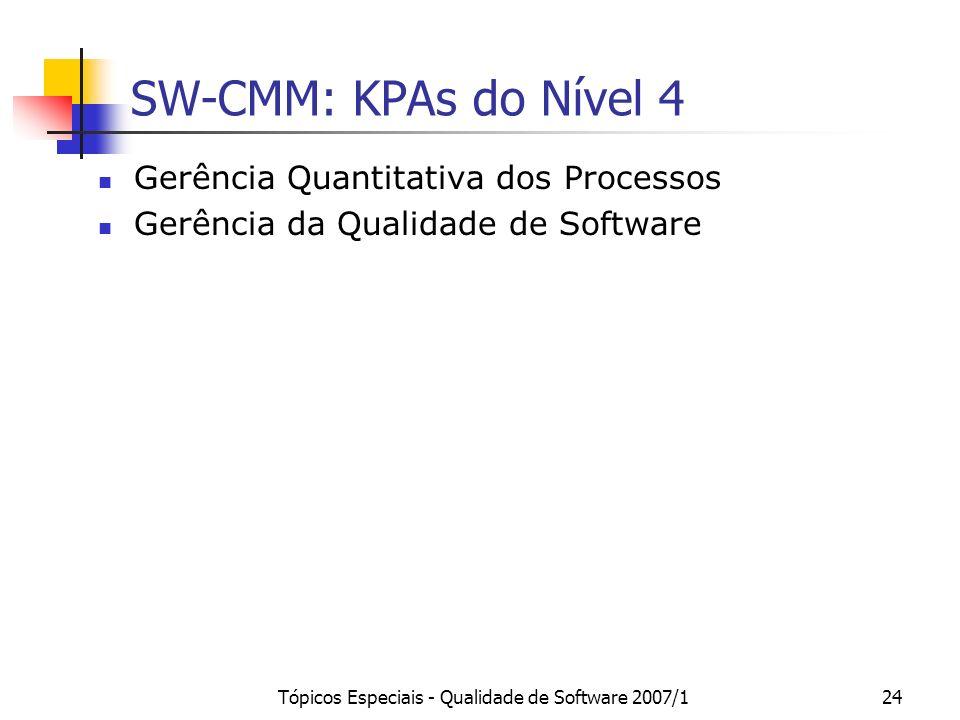 Tópicos Especiais - Qualidade de Software 2007/124 SW-CMM: KPAs do Nível 4 Gerência Quantitativa dos Processos Gerência da Qualidade de Software