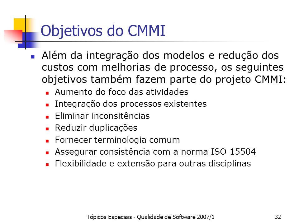 Tópicos Especiais - Qualidade de Software 2007/132 Objetivos do CMMI Além da integração dos modelos e redução dos custos com melhorias de processo, os