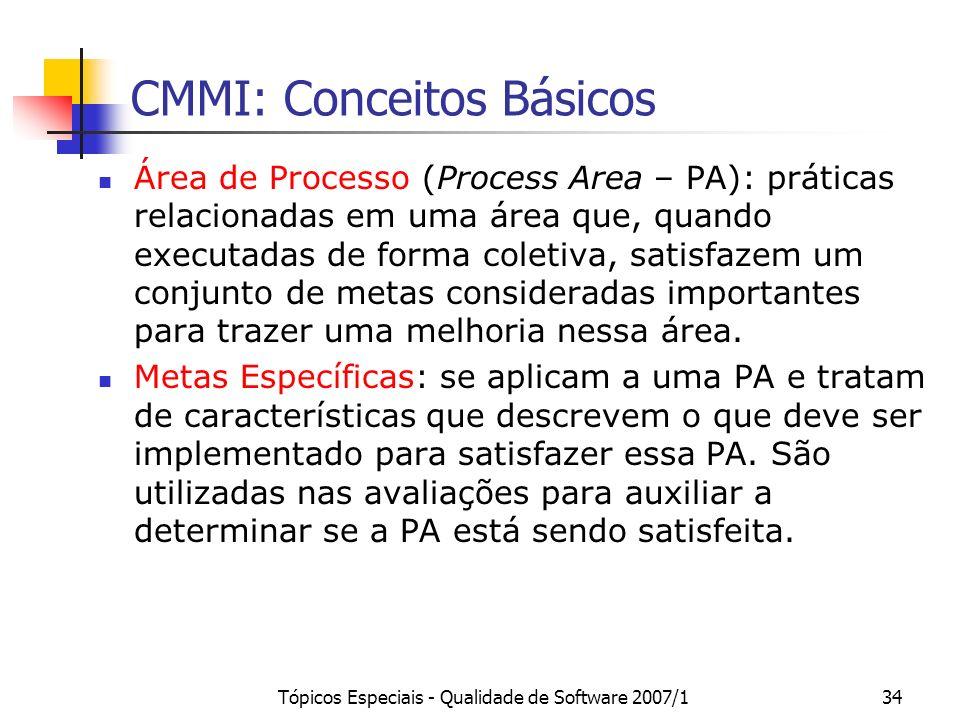 Tópicos Especiais - Qualidade de Software 2007/134 CMMI: Conceitos Básicos Área de Processo (Process Area – PA): práticas relacionadas em uma área que
