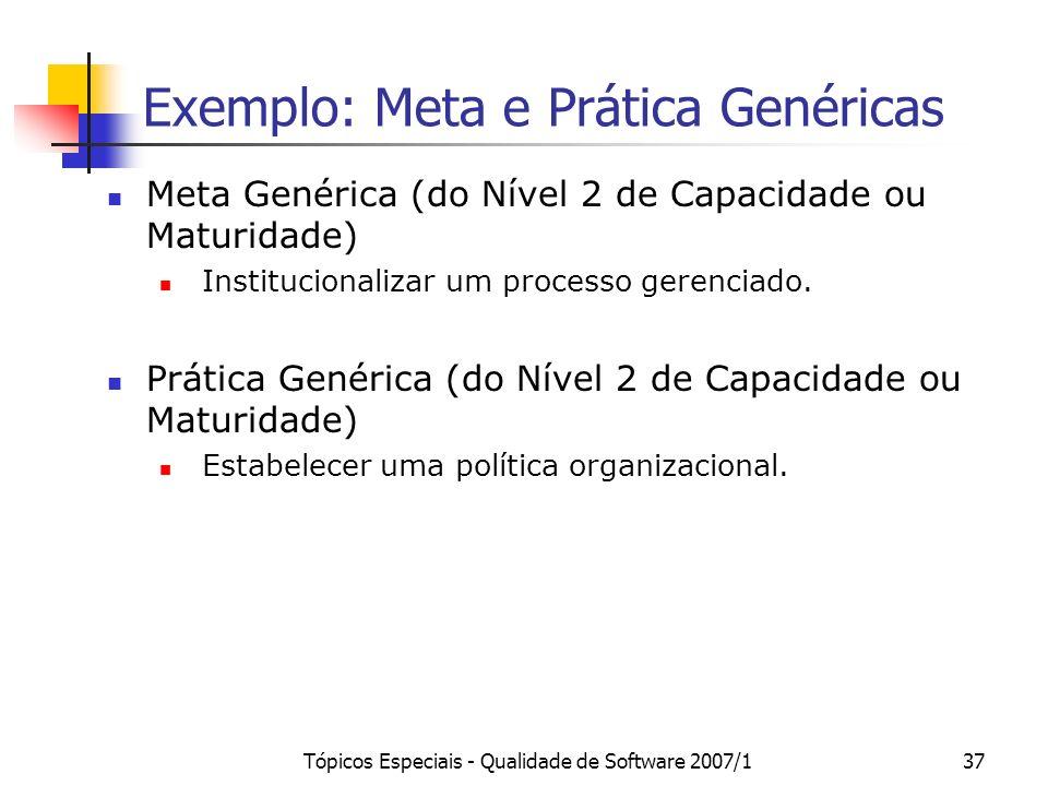 Tópicos Especiais - Qualidade de Software 2007/137 Exemplo: Meta e Prática Genéricas Meta Genérica (do Nível 2 de Capacidade ou Maturidade) Institucio