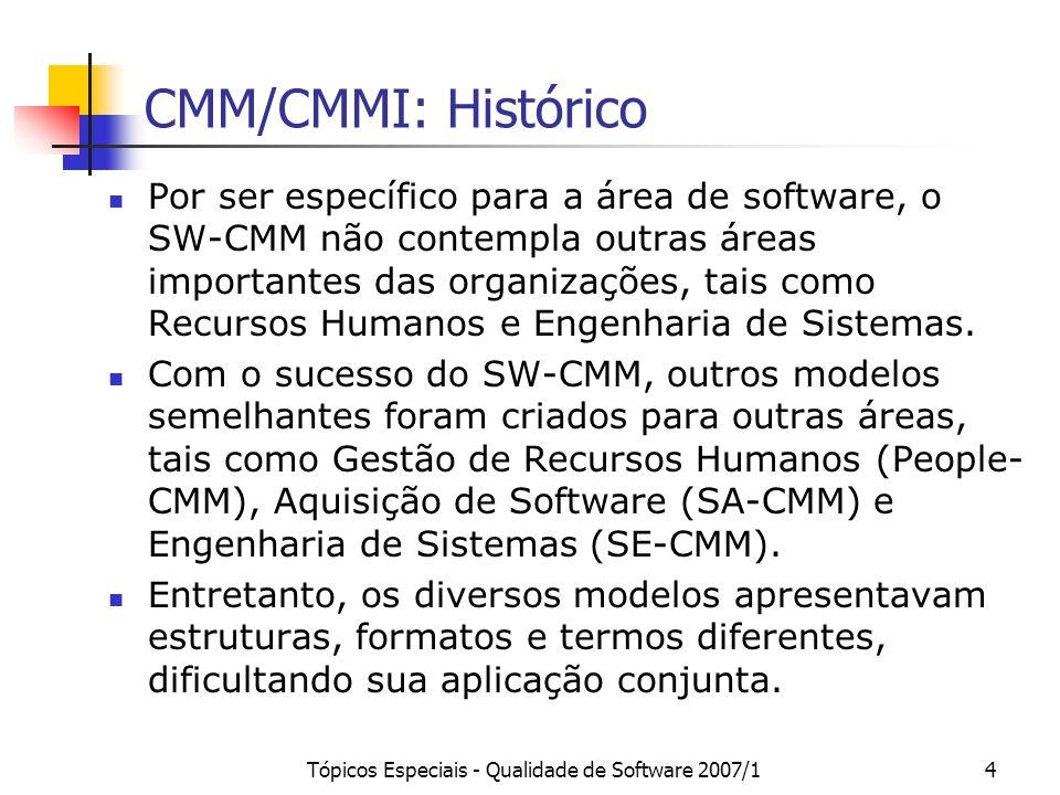 Tópicos Especiais - Qualidade de Software 2007/125 SW-CMM: Nível 5 (Otimizado) entrada saída A melhoria contínua do processo é estabelecida por meio de sua avaliação quantitativa, e da implantação planejada e controlada de tecnologias e idéias inovadoras.