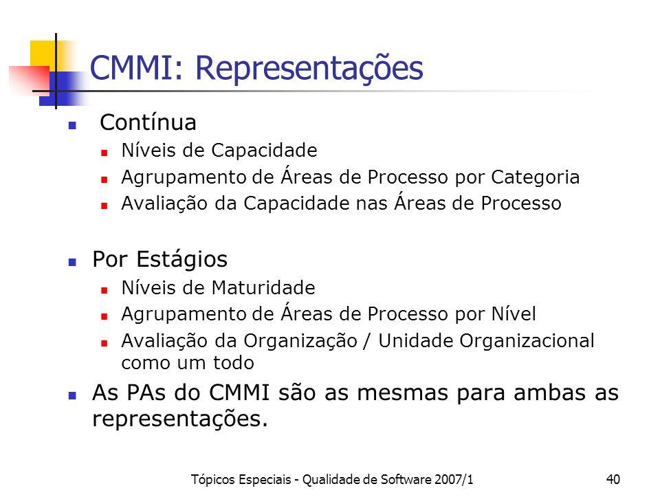 Tópicos Especiais - Qualidade de Software 2007/140 CMMI: Representações Contínua Níveis de Capacidade Agrupamento de Áreas de Processo por Categoria A