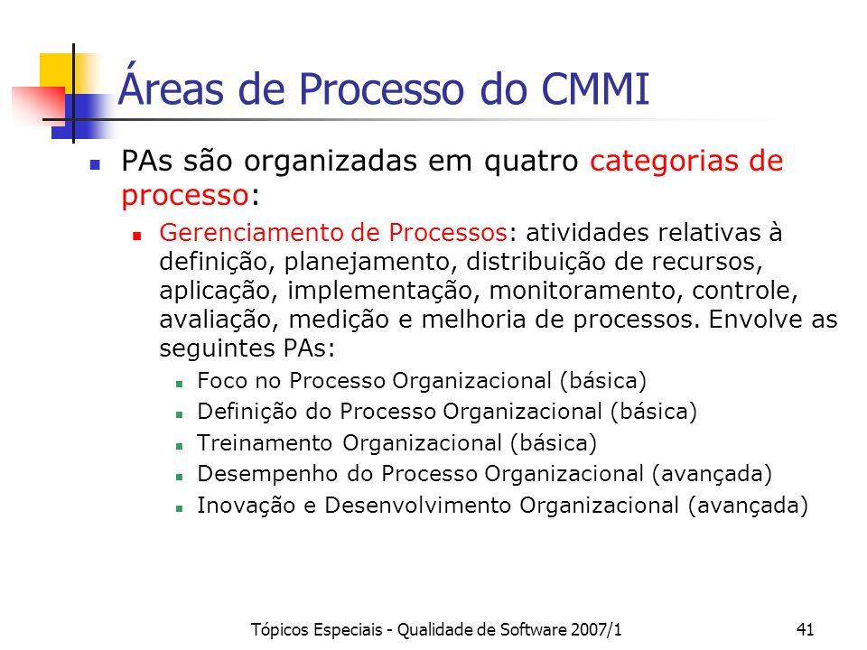 Tópicos Especiais - Qualidade de Software 2007/141 Áreas de Processo do CMMI PAs são organizadas em quatro categorias de processo: Gerenciamento de Pr