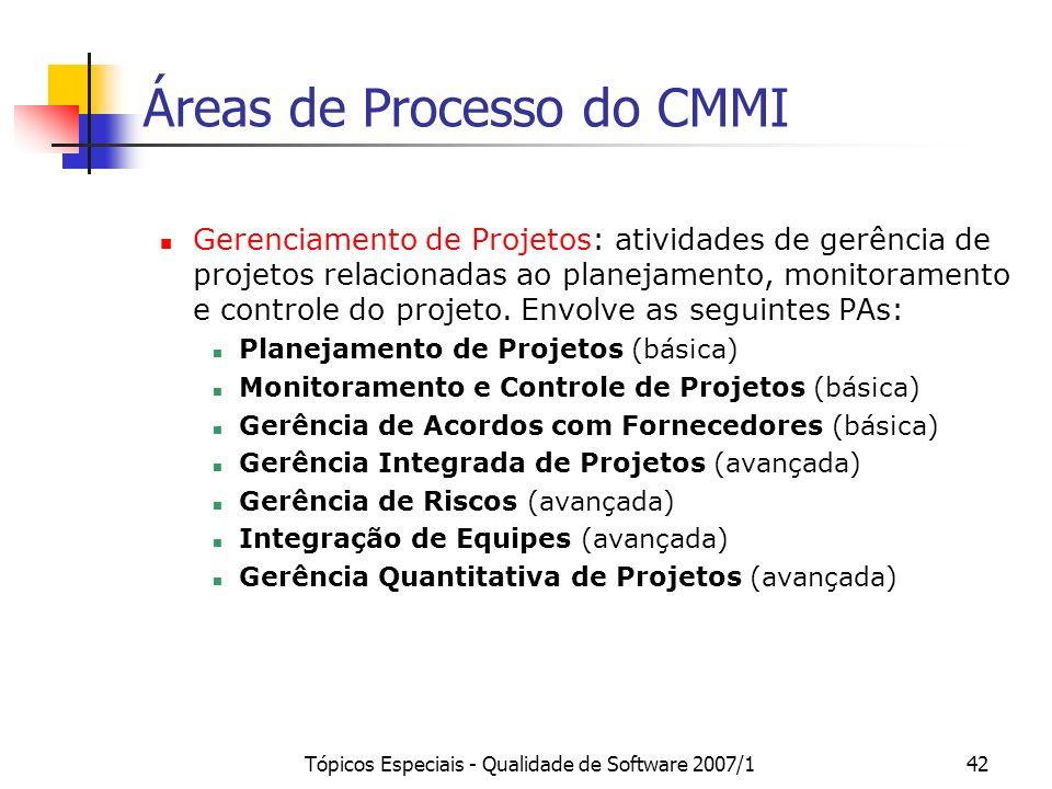 Tópicos Especiais - Qualidade de Software 2007/142 Áreas de Processo do CMMI Gerenciamento de Projetos: atividades de gerência de projetos relacionada