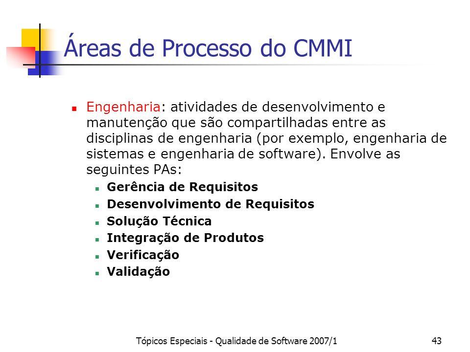 Tópicos Especiais - Qualidade de Software 2007/143 Áreas de Processo do CMMI Engenharia: atividades de desenvolvimento e manutenção que são compartilh