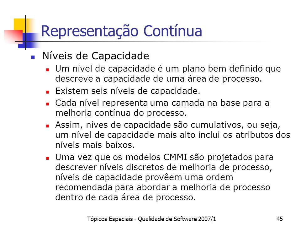Tópicos Especiais - Qualidade de Software 2007/145 Representação Contínua Níveis de Capacidade Um nível de capacidade é um plano bem definido que desc