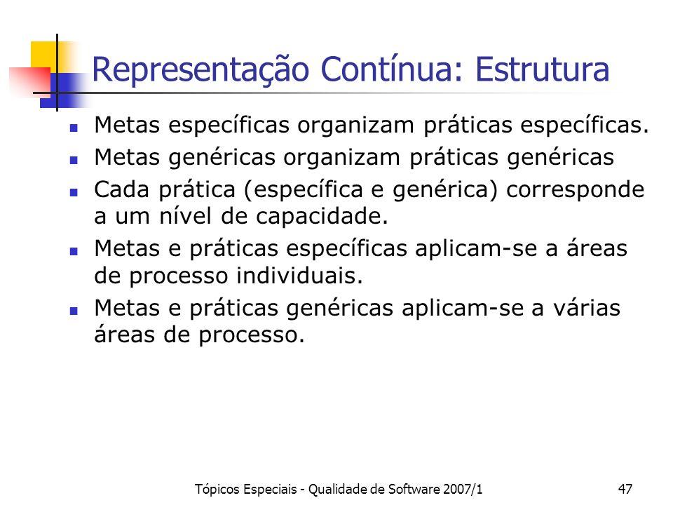 Tópicos Especiais - Qualidade de Software 2007/147 Representação Contínua: Estrutura Metas específicas organizam práticas específicas. Metas genéricas