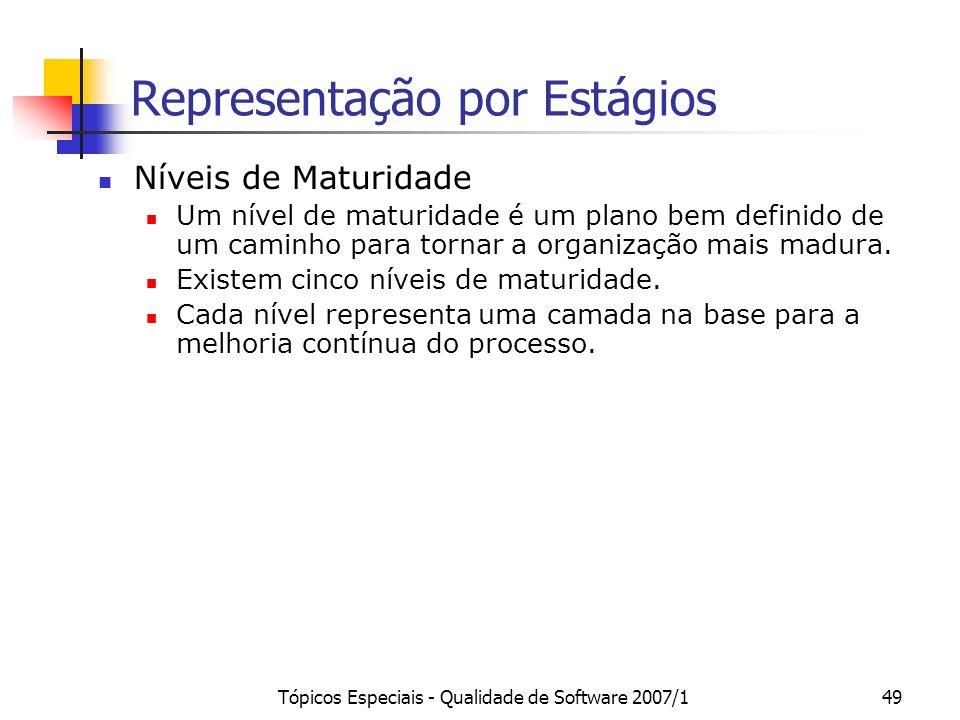 Tópicos Especiais - Qualidade de Software 2007/149 Representação por Estágios Níveis de Maturidade Um nível de maturidade é um plano bem definido de u