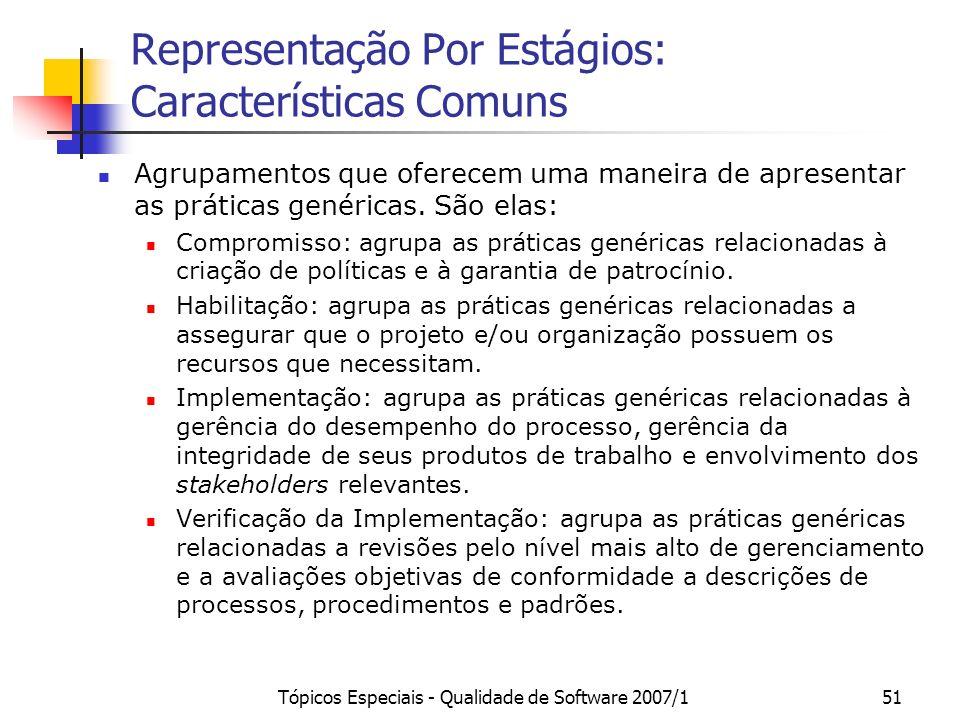 Tópicos Especiais - Qualidade de Software 2007/151 Representação Por Estágios: Características Comuns Agrupamentos que oferecem uma maneira de apresen