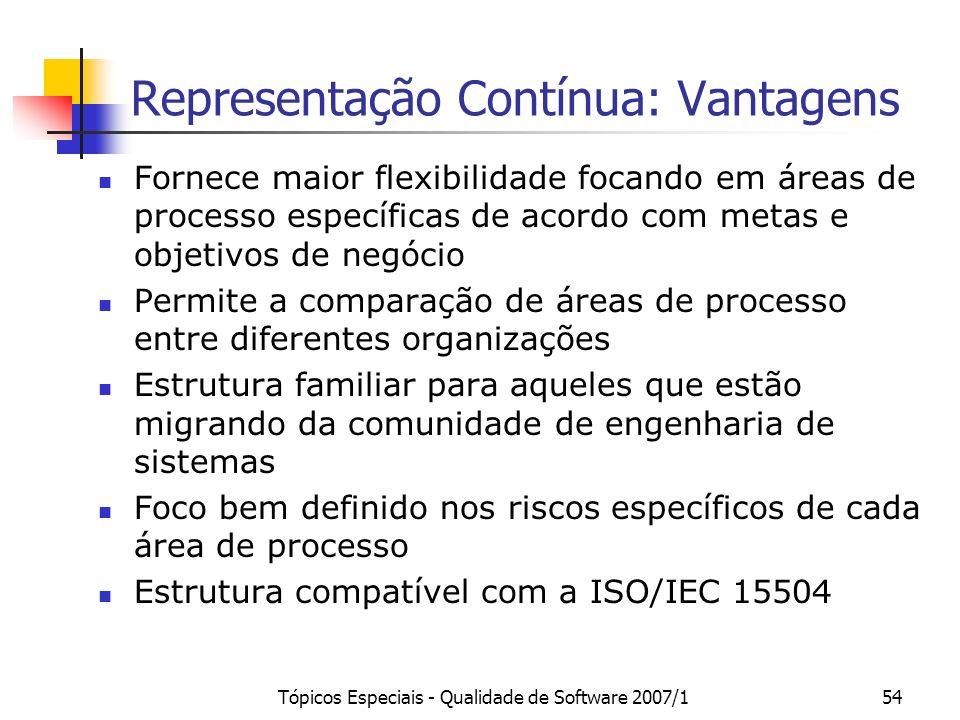 Tópicos Especiais - Qualidade de Software 2007/154 Representação Contínua: Vantagens Fornece maior flexibilidade focando em áreas de processo específi