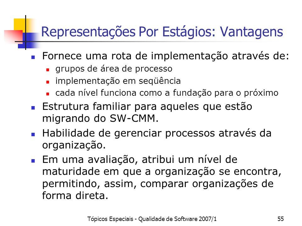 Tópicos Especiais - Qualidade de Software 2007/155 Representações Por Estágios: Vantagens Fornece uma rota de implementação através de: grupos de área