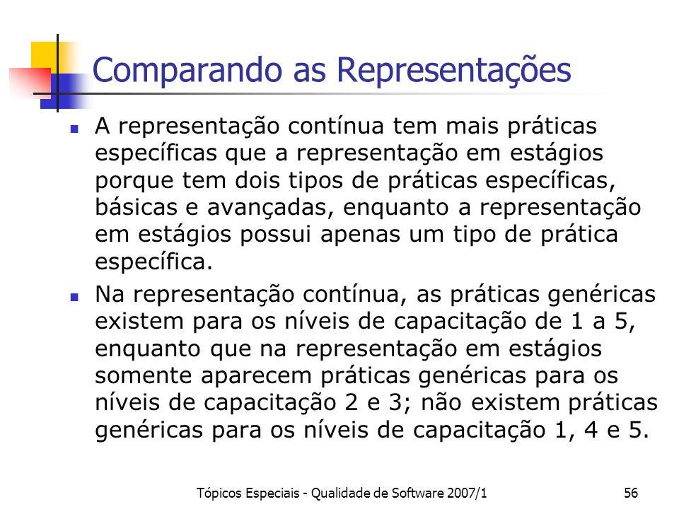Tópicos Especiais - Qualidade de Software 2007/156 Comparando as Representações A representação contínua tem mais práticas específicas que a represent