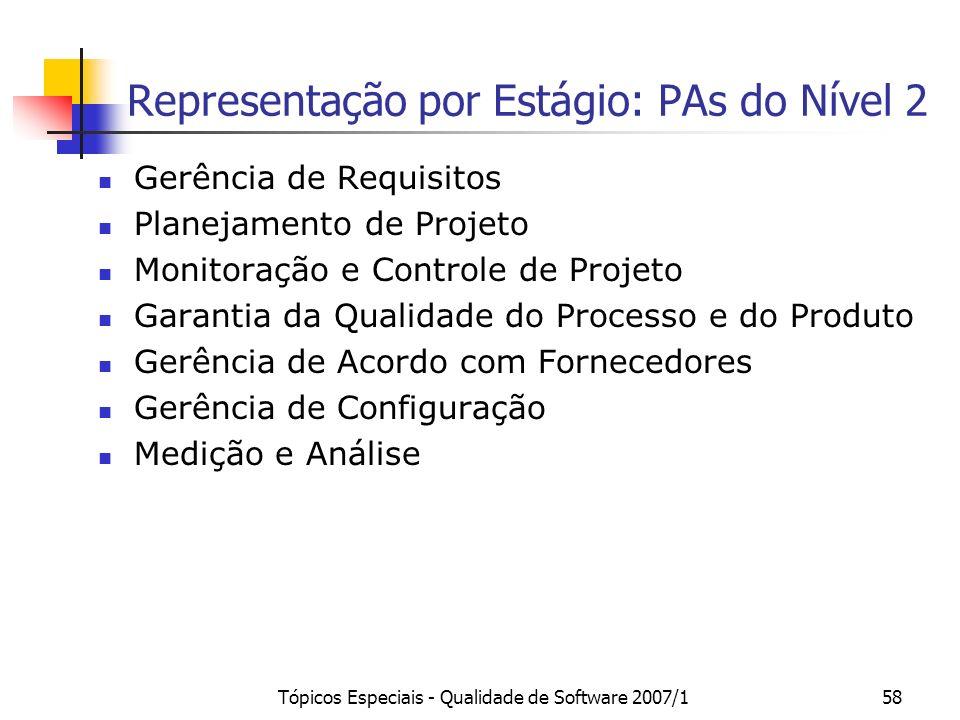 Tópicos Especiais - Qualidade de Software 2007/158 Representação por Estágio: PAs do Nível 2 Gerência de Requisitos Planejamento de Projeto Monitoraçã