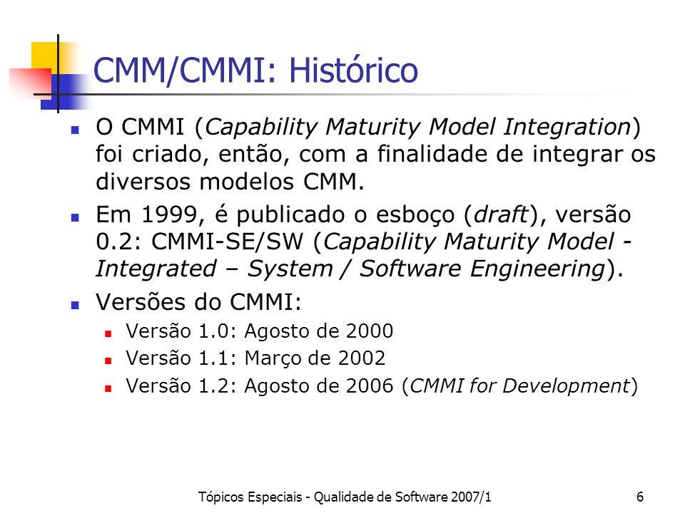 Tópicos Especiais - Qualidade de Software 2007/17 SW-CMM Modelo de Maturidade de Capacitação para Software Objetivo Principal: guiar organizações a conhecerem e melhorarem seus processos de software.