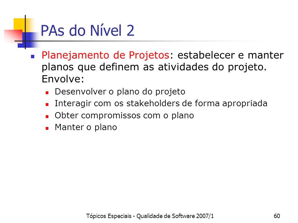 Tópicos Especiais - Qualidade de Software 2007/160 PAs do Nível 2 Planejamento de Projetos: estabelecer e manter planos que definem as atividades do p