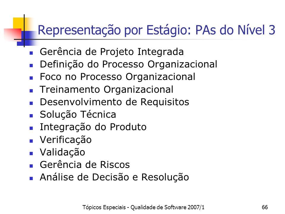 Tópicos Especiais - Qualidade de Software 2007/166 Representação por Estágio: PAs do Nível 3 Gerência de Projeto Integrada Definição do Processo Organ
