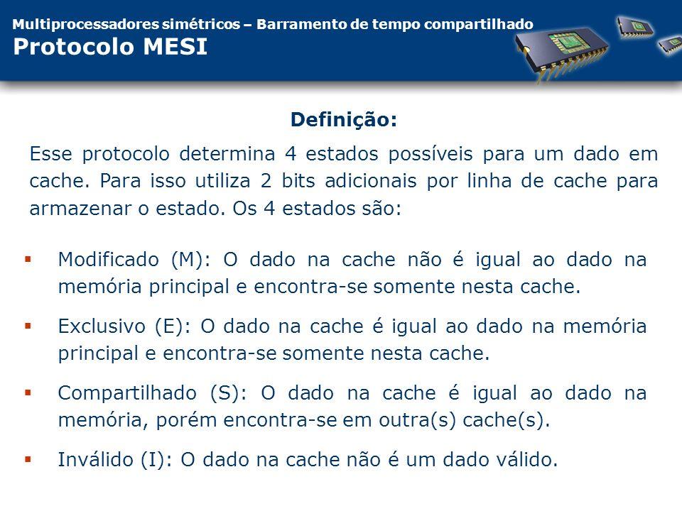 Multiprocessadores simétricos – Barramento de tempo compartilhado Protocolo MESI Modificado (M): O dado na cache não é igual ao dado na memória principal e encontra-se somente nesta cache.