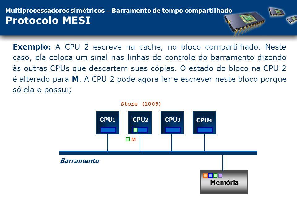 Multiprocessadores simétricos – Barramento de tempo compartilhado Protocolo MESI CPU 1 Barramento Memória CPU 2 CPU 3 CPU 4 M Exemplo: A CPU 2 escreve na cache, no bloco compartilhado.