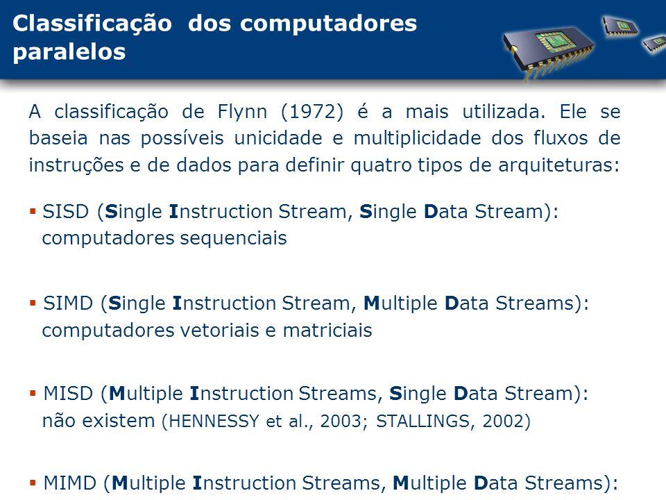 Classificação dos computadores paralelos A classificação de Flynn (1972) é a mais utilizada.