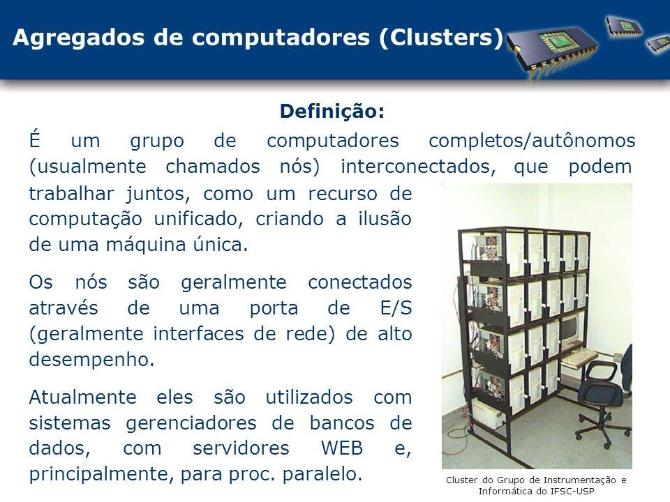 Definição: É um grupo de computadores completos/autônomos (usualmente chamados nós) interconectados, que podem trabalhar juntos, como um recurso de computação unificado, criando a ilusão de uma máquina única.