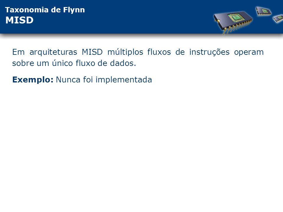 Taxonomia de Flynn MISD Em arquiteturas MISD múltiplos fluxos de instruções operam sobre um único fluxo de dados.