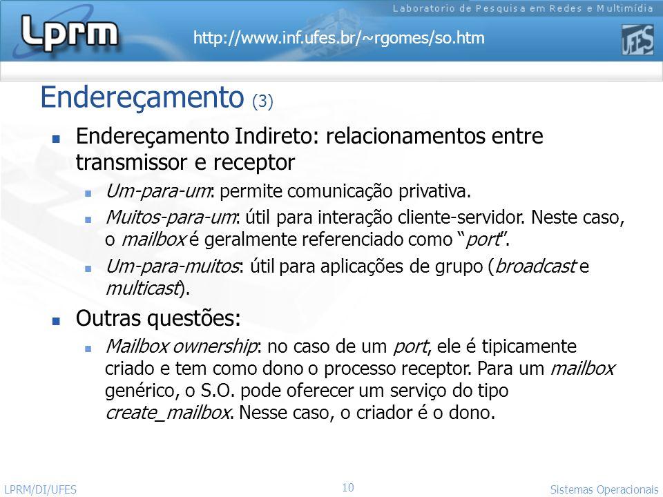 http://www.inf.ufes.br/~rgomes/so.htm 10 Sistemas Operacionais LPRM/DI/UFES Endereçamento (3) Endereçamento Indireto: relacionamentos entre transmisso