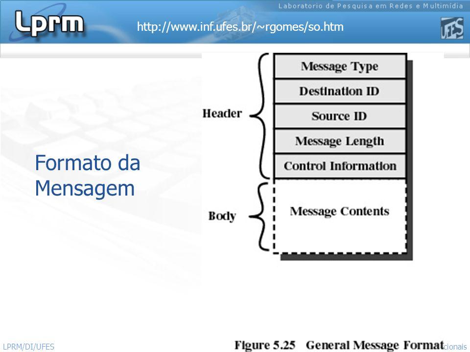 http://www.inf.ufes.br/~rgomes/so.htm 12 Sistemas Operacionais LPRM/DI/UFES Formato da Mensagem