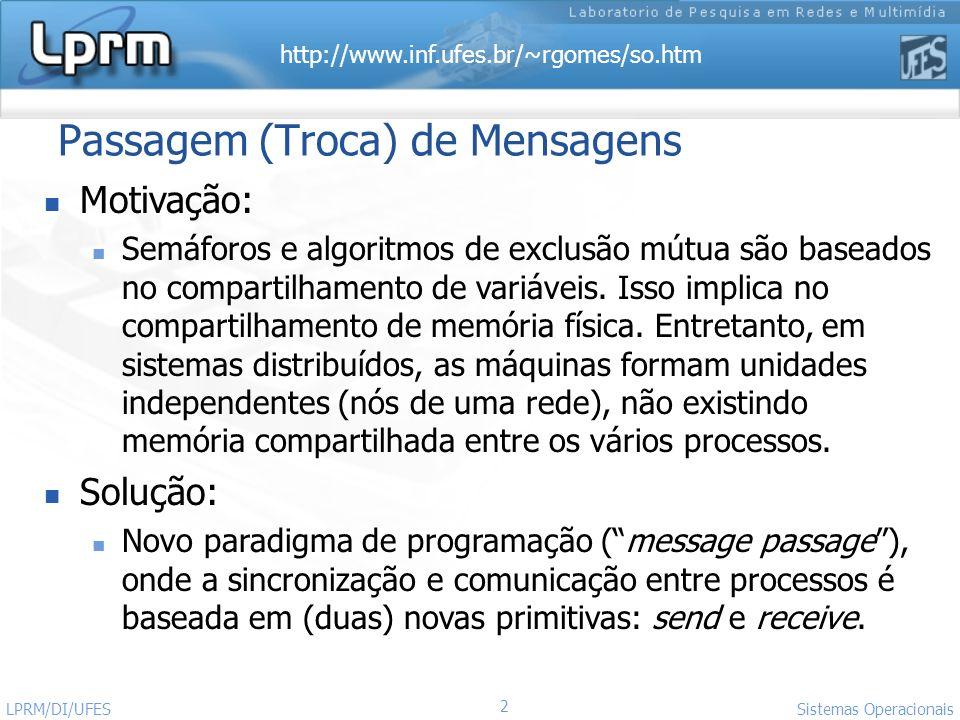 http://www.inf.ufes.br/~rgomes/so.htm 2 Sistemas Operacionais LPRM/DI/UFES Passagem (Troca) de Mensagens Motivação: Semáforos e algoritmos de exclusão