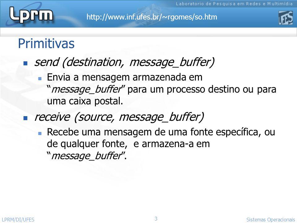 http://www.inf.ufes.br/~rgomes/so.htm 3 Sistemas Operacionais LPRM/DI/UFES Primitivas send (destination, message_buffer) Envia a mensagem armazenada e