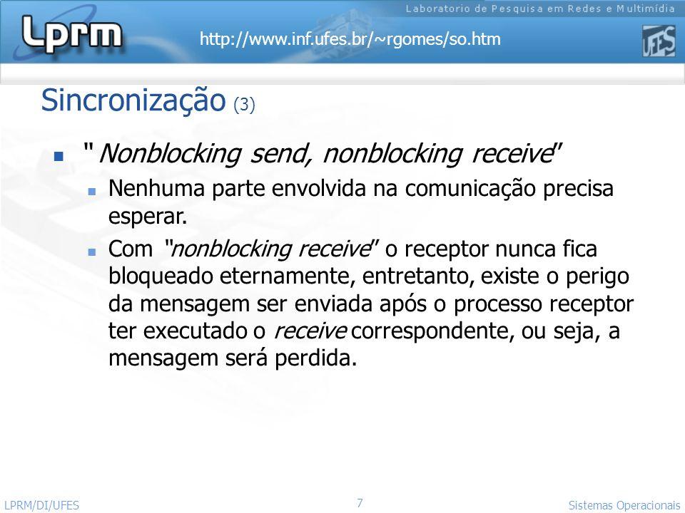 http://www.inf.ufes.br/~rgomes/so.htm 7 Sistemas Operacionais LPRM/DI/UFES Sincronização (3) Nonblocking send, nonblocking receive Nenhuma parte envol