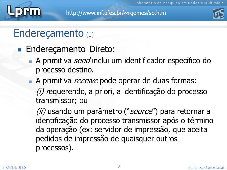 http://www.inf.ufes.br/~rgomes/so.htm 8 Sistemas Operacionais LPRM/DI/UFES Endereçamento (1) Endereçamento Direto: A primitiva send inclui um identifi