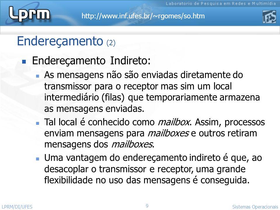 http://www.inf.ufes.br/~rgomes/so.htm 9 Sistemas Operacionais LPRM/DI/UFES Endereçamento (2) Endereçamento Indireto: As mensagens não são enviadas dir