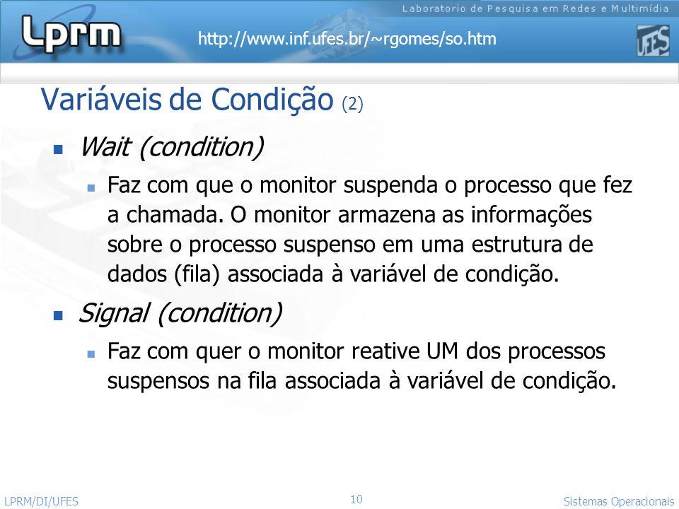http://www.inf.ufes.br/~rgomes/so.htm 10 Sistemas Operacionais LPRM/DI/UFES Variáveis de Condição (2) Wait (condition) Faz com que o monitor suspenda